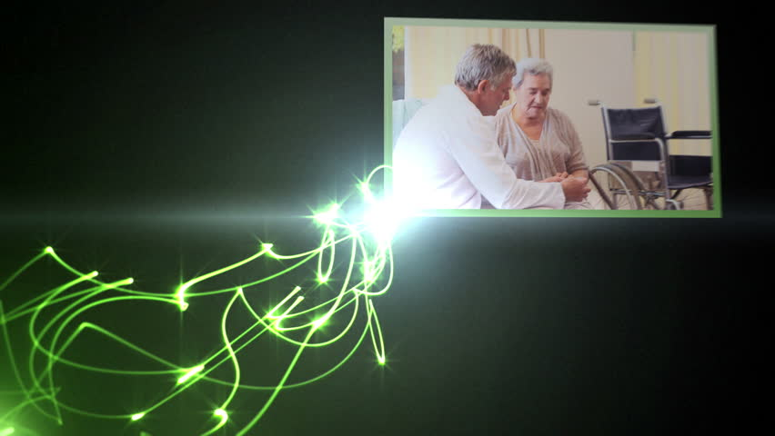 Animation of medical videos with light beams - HD stock video clip