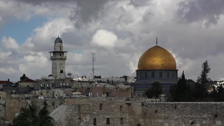 Clouds over the wailing wall and mosque of Al-aqsa (Dome of the Rock), Jerusalem, Israel