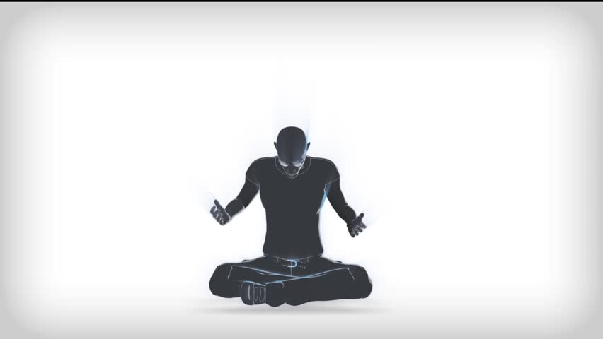 praying or grieving person animation is presented of particles flying through the camera