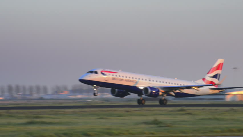 AMSTERDAM, THE NETHERLANDS - NOVEMBER 14: British Airways Embraer ERJ-190SR taking off from Schiphol Airport on November 14, 2012.