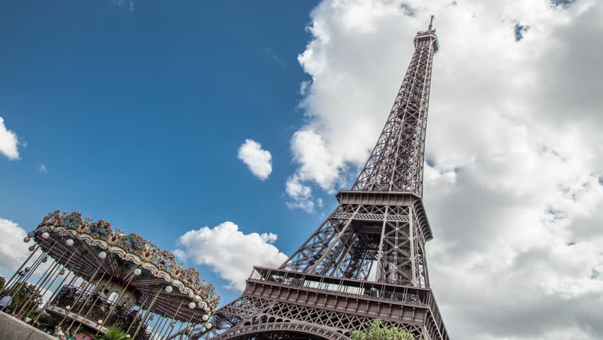 PARIS, FRANCE - CIRCA OCTOBER, 2012: Eiffel Tower with carrousel  | Shutterstock HD Video #3047179