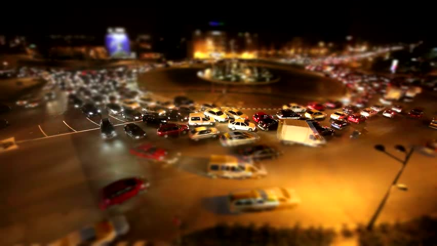 Tilt Shift Video Effect with timelapse - dense traffic in Valencia - Spain - Europe - Full HD 1920x1080 30fps