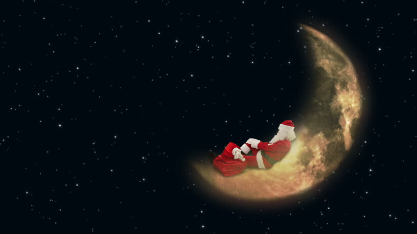 Santa Claus resting on Moon and waiting for Reindeers