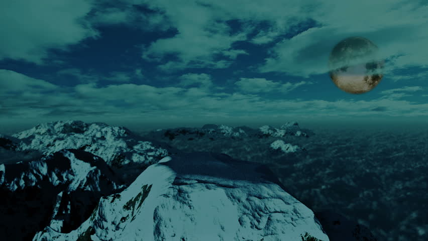 Above Snowy Mountain, Time Lapse Clouds and full Moon - HD stock footage clip