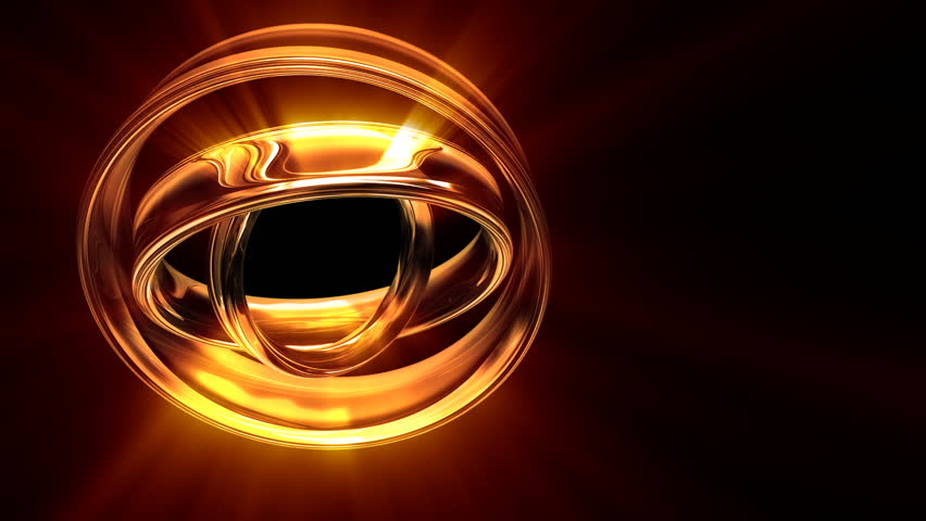 Seamlessly looping animation of 3D golden-glass rings revolving  - HD stock video clip