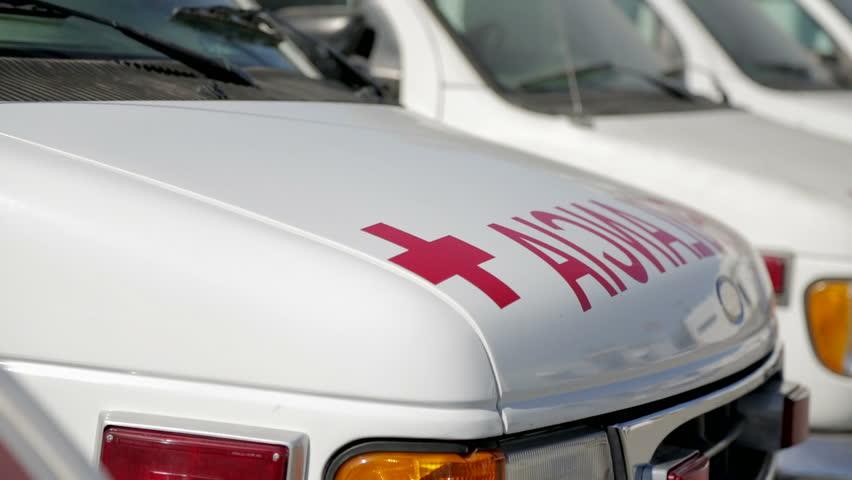Ambulances parked for maintenance service  - HD stock video clip