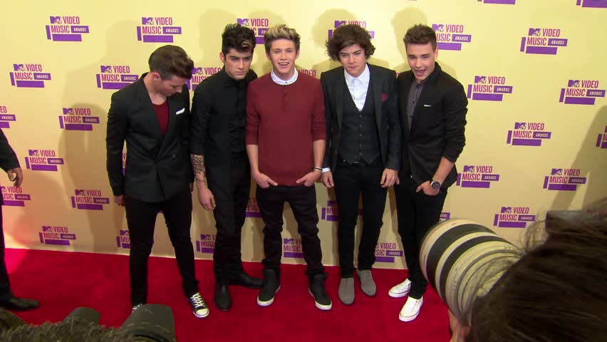 Los Angeles, CA - SEPTEMBER 06, 2012: One Direction, Liam Payne, Louis Tomlinson, Niall Horan, Zayn Malik, Harry Styles, walk the red carpet at the MTV Video Music Awards 2012 at the Staples Center