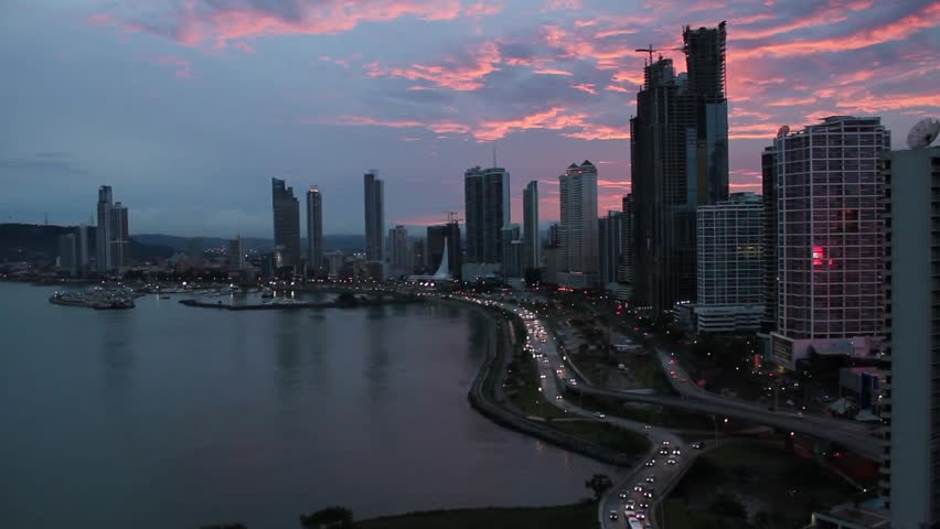 Overlooking Panama City, Panama with a Pink Sunset. - HD stock footage clip
