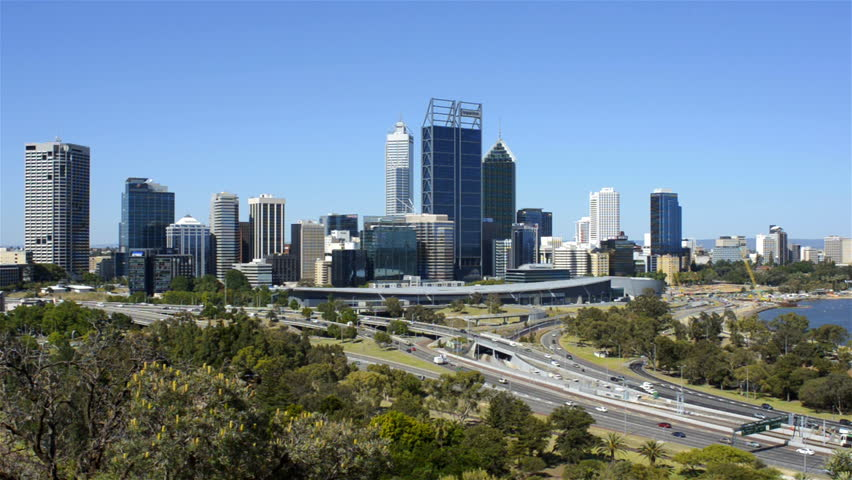 View of Perth City, Australia, from King's Park in mid-afternoon, with traffic