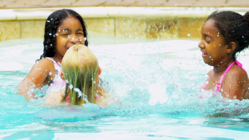 Slow Motion Multi Ethnic Girls Swimming Pool - HD stock video clip
