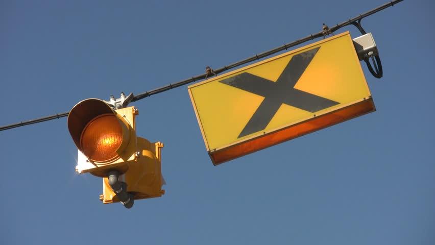 Blinking crosswalk light. - HD stock footage clip