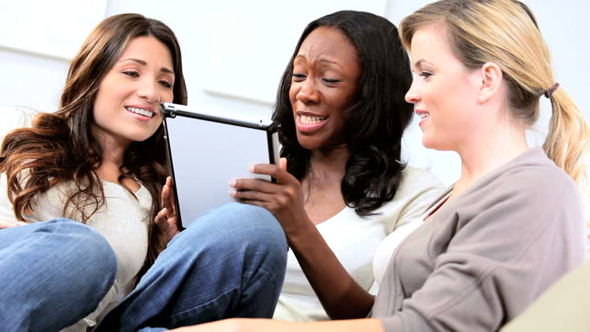 Multi Ethnic Pretty Girls Online Dating On Tablet Computer Stock     Shutterstock