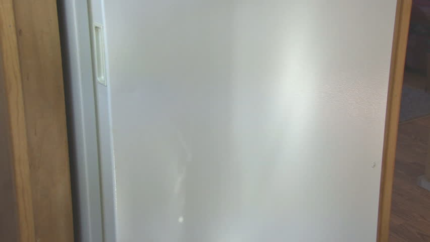 Fridge containing a cabbage, potatoes, carrots, and an onion. Door opens to