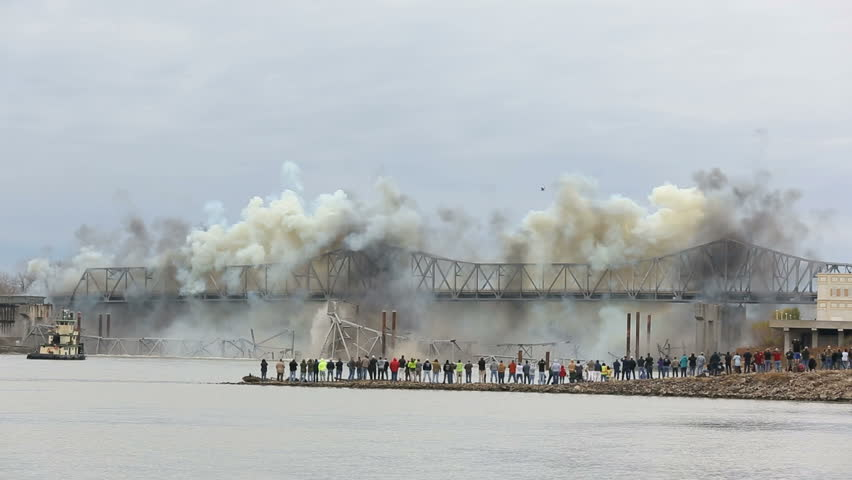 Demolition of steel bridge on the Missouri river. Blanchette Bridge demolition on 12-4-2012 at 10:25am St. Charles Missouri