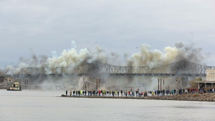 Demolition of steel bridge on the Missouri river. Blanchette Bridge demolition on 12-4-2012 at 10:25am St. Charles Missouri