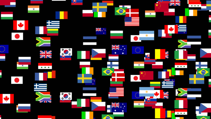 World Flags in Motion - HD stock video clip