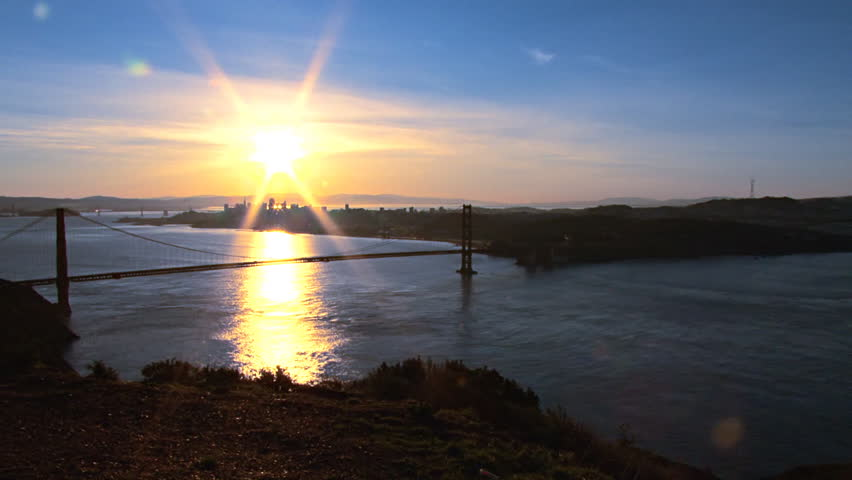 Brilliant new day dawns over San Francisco and the Golden Gate Bridge