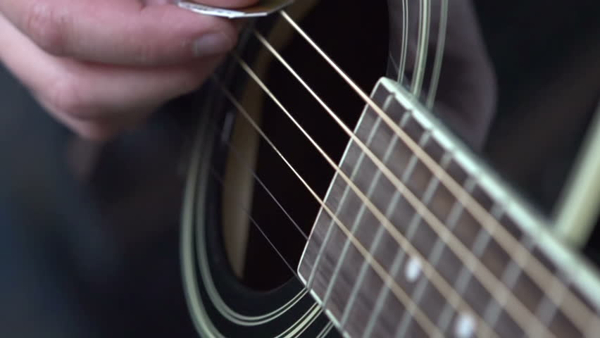 woman playing the guitar macro shot of finger picking stock footage video 1187179 shutterstock. Black Bedroom Furniture Sets. Home Design Ideas