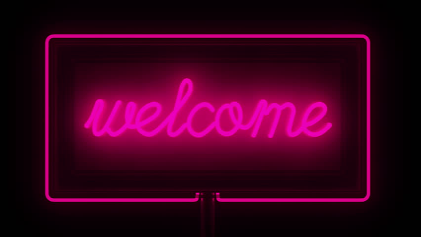 Neon Sign Welcome Neon Include Alpha Stock Footage Video