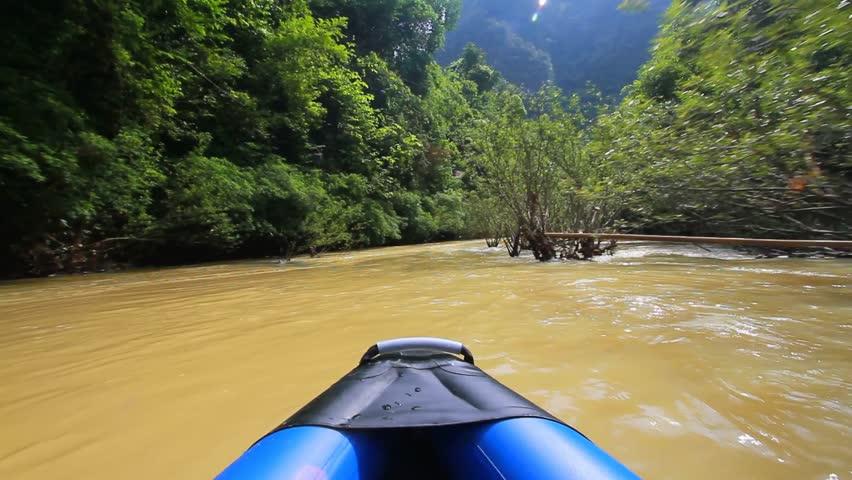 Canoe trip to Khao Sok National Park, Thailand. POV. - HD stock video clip