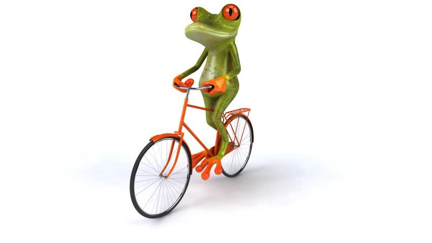 Fun frog rides bike - HD stock footage clip