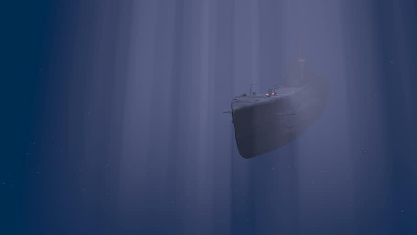 K-21, WW2 Soviet submarine approach - HD stock video clip