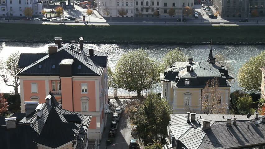 Salzburg houses - HD stock video clip