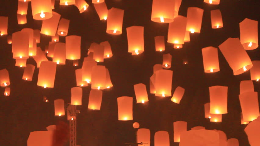 Flying lantern yeepang festival