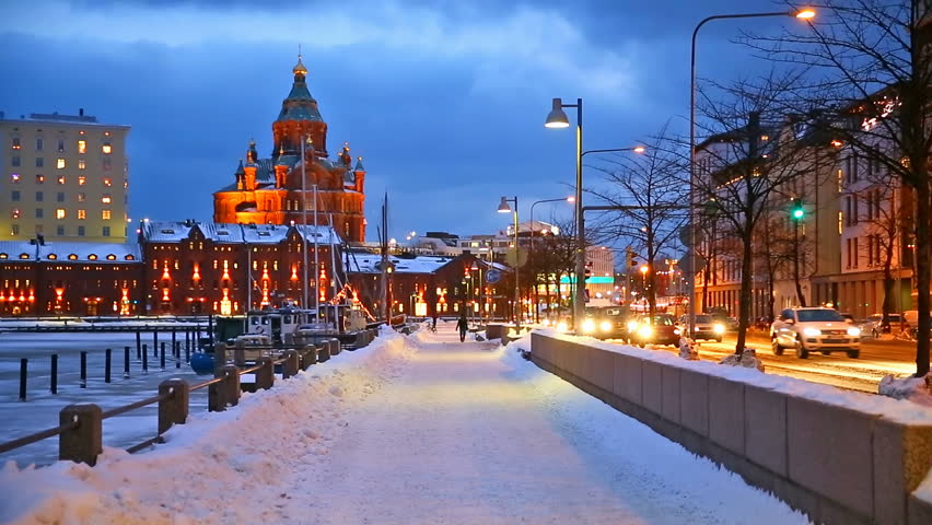 Winter Scenery Of The Old Town In Helsinki Finland Hd Stock Video Clip