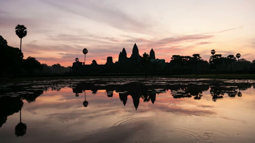 Timelapse of Sunrise on Angkor Wat Temple in Cambodia. UNESCO site, World Wonder