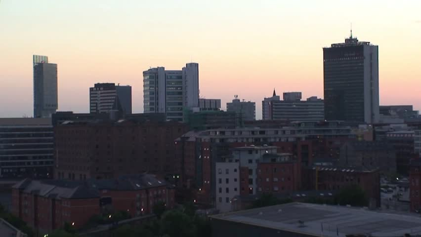 TImelapse of Manchester City Centre at Sunset