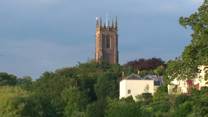 River Exe running through Tiverton town centre. - HD stock footage clip