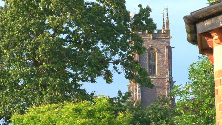 Church and house overlooking the River Exe in Devon. - HD stock footage clip
