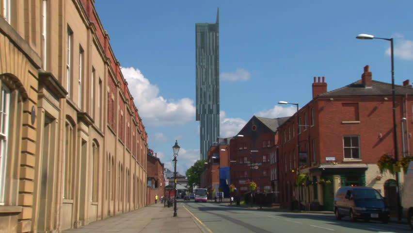 MANCHESTER, ENGLAND - CIRCA 2011: Beethem Tower (known as Hilton Tower) as seen from Liverpool Road in Manchester.