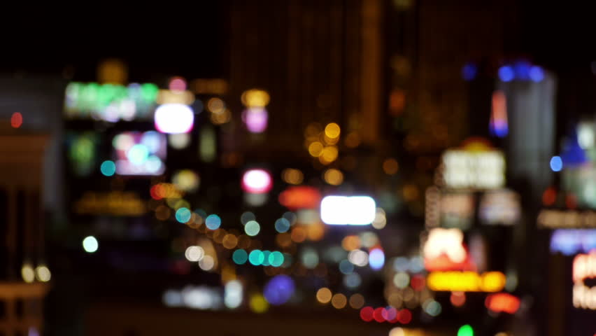 Out Of Focus Vegas Strip Casino Lights Wide View.