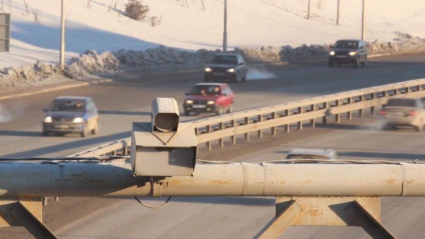 Photofixation speeding. Radar on the road  - HD stock video clip