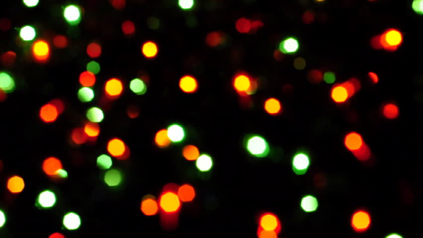 Blurred Colorful Christmas Lights On Black Background With ...
