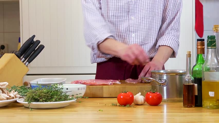 Chef, preparing haricots-verts in raw ham - HD stock video clip