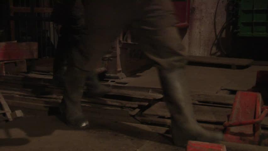 Coal mining underground in tunnels in the Ukraine.