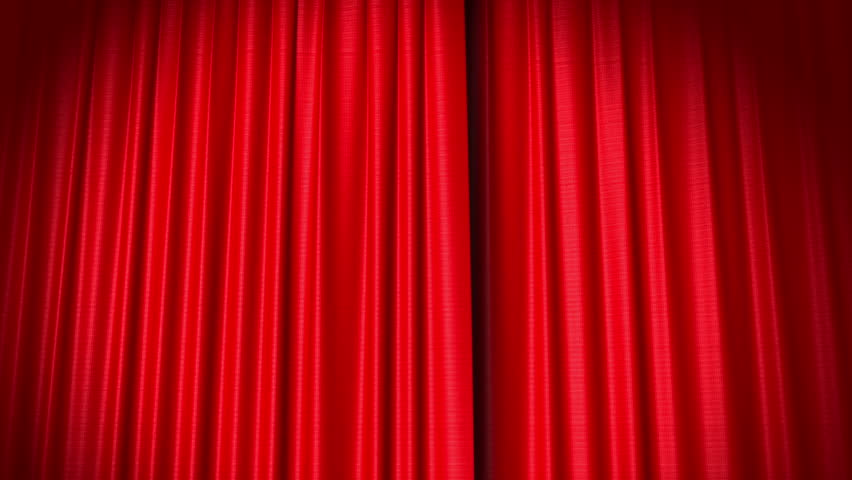 Opening And Closing Red Curtain 3d Animation Stock