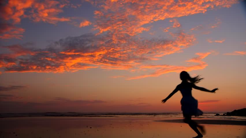 Beach Ballet at sunset - HD stock video clip