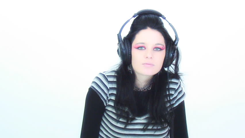 Goth girl and headphones - Like my hair up - beehive - HD stock video clip