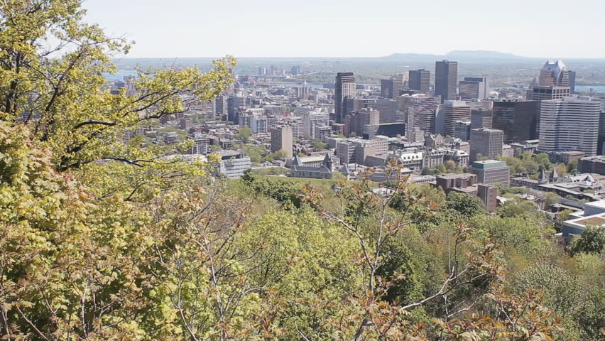 Aerial View Of The Financial District Of Montreal City Skyline As Seen From The Lookout On Mount Royal