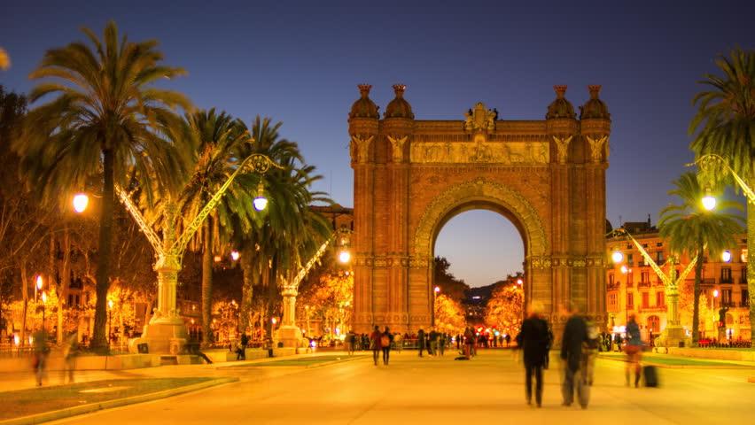 View of Arc de Triomf, illuminated at night, Barcelona, Spain