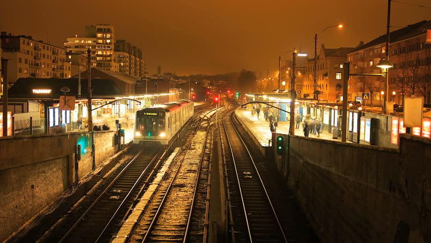 Metro station time lapse at night