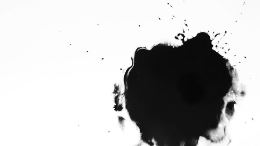 Ink splatter/Ink Bleed Bloom/Black expanding - HD stock footage clip