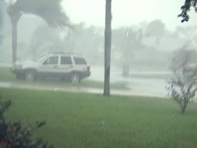 100 MPH + Hurricane Winds And Rain Blowing DEBRIS! Stock ...