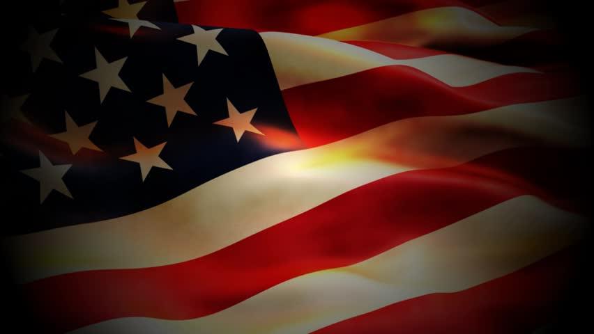 Model of the Amerian flag waving - HD stock video clip