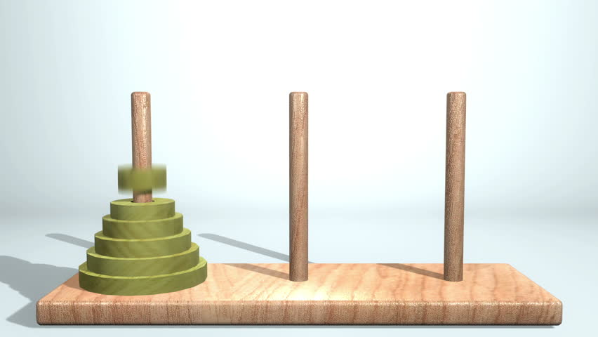 High Definition abstract CGI motion backgrounds ideal for editing, led backdrops or broadcasting featuring a wooden block game with green rings randomly stacking on top of each other | Shutterstock HD Video #3247960