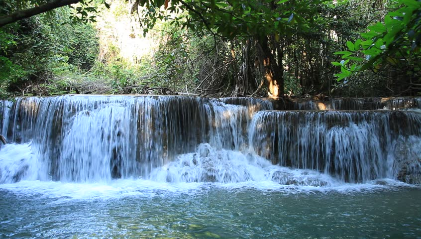 Waterfall in tropical forest in Kanchanaburi, Thailand